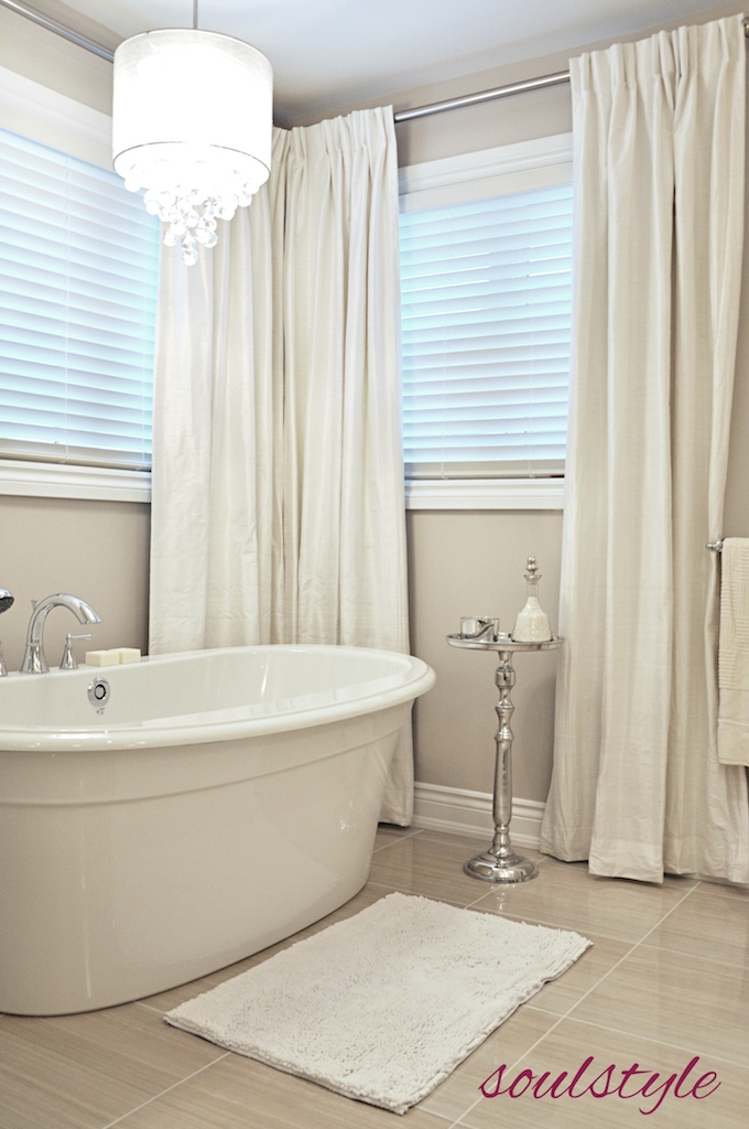 Elegant Neutrals Ensuite Soaker Tub Silk Drapes