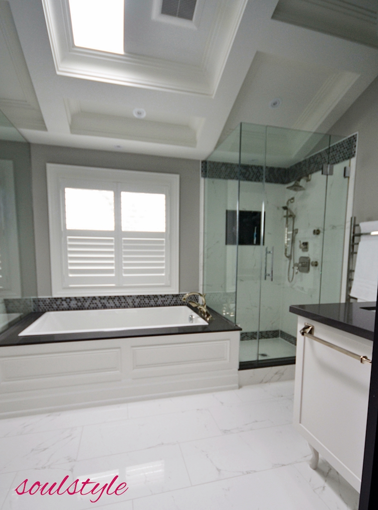 Ensuite Bath Renovation Coffered Dormer Ceiling Soaker Tub