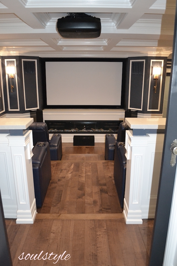 Home Theatre Room Fireplace & Hardwood