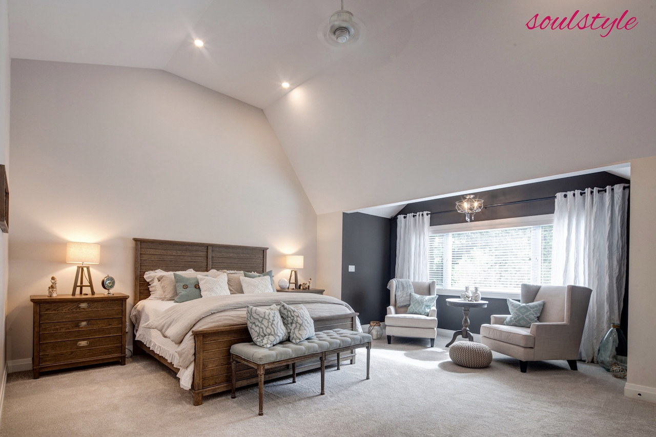Master Bedroom Renovation Design Vaulted Ceiling Custom Funiture