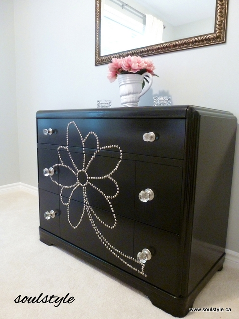 DIY nail head design on dresser