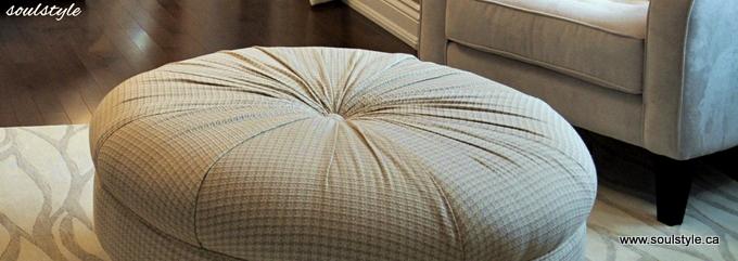 Round Button Tufted Ottoman